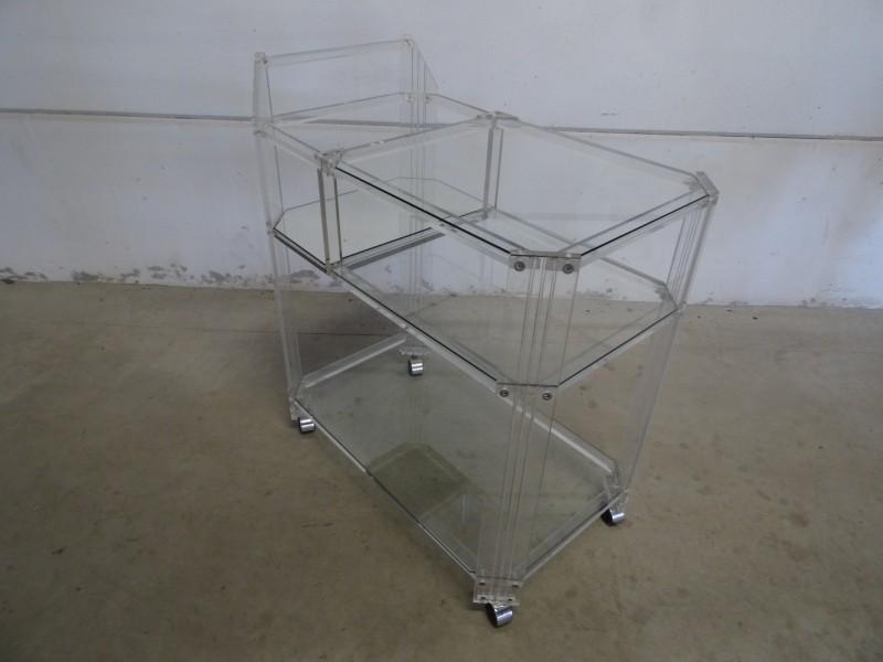 Serveerwagen uit acryl-glas-spiegel