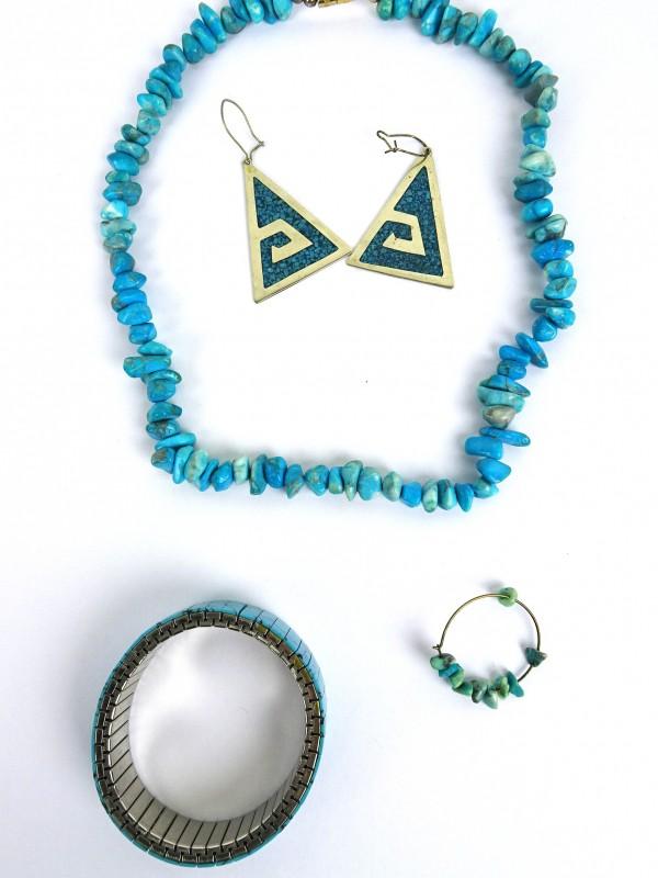 Azuur/blauw juwelen-set