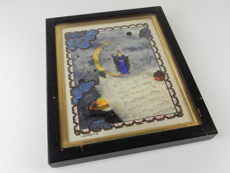 """Koningin van de nacht"" Miniatuur op perkament - Rudi Fonteyne '92"