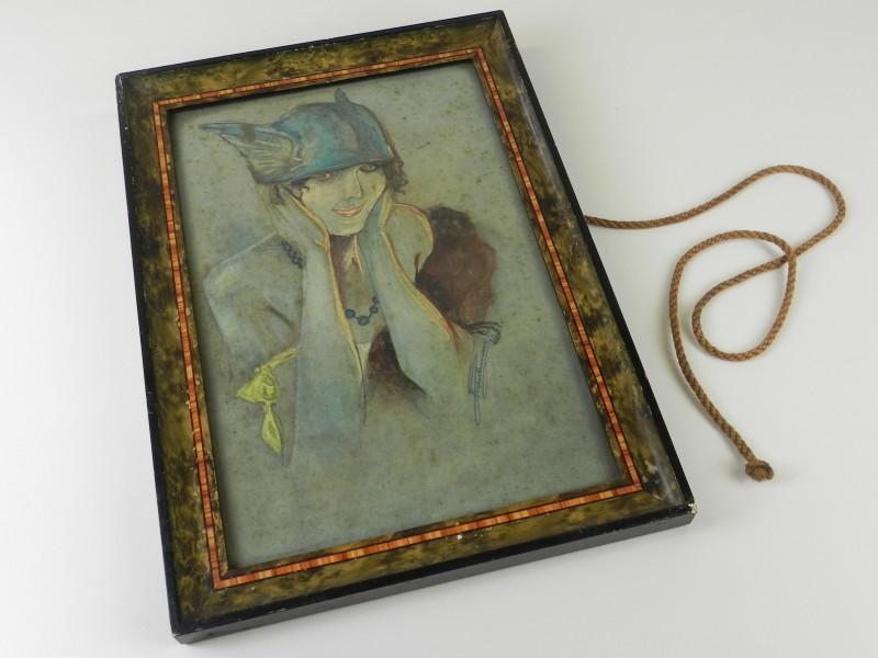 Art-deco aquarel van een Valkyrie , gesigneerd en gedateerd