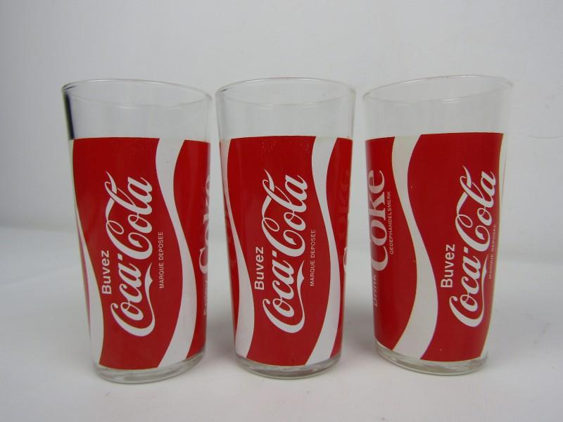 3 Oude Italiaanse: Coca Cola  Glazen