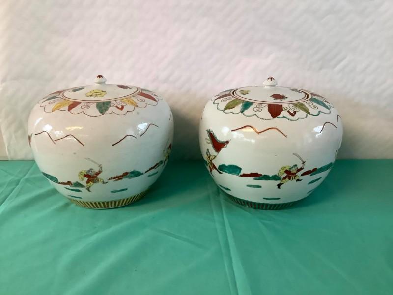 2 Chinese gemberpotten met deksel