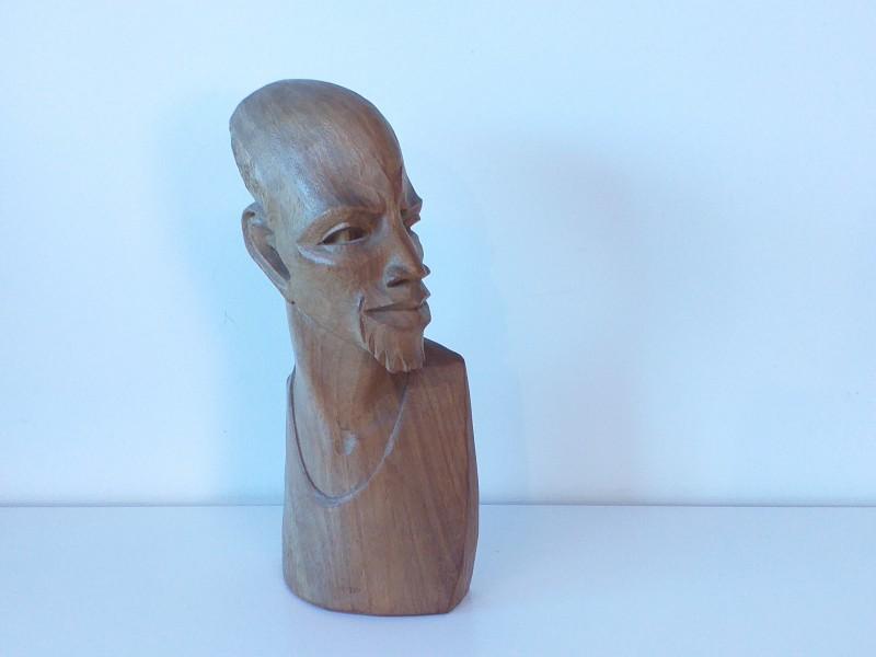 houten Afrikaanse buste van man,