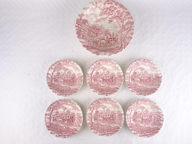 Porseleinen borden gemerkt Myott Royal Mail. (6x + 1x)