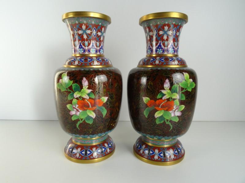 2 Cloisonné vazen