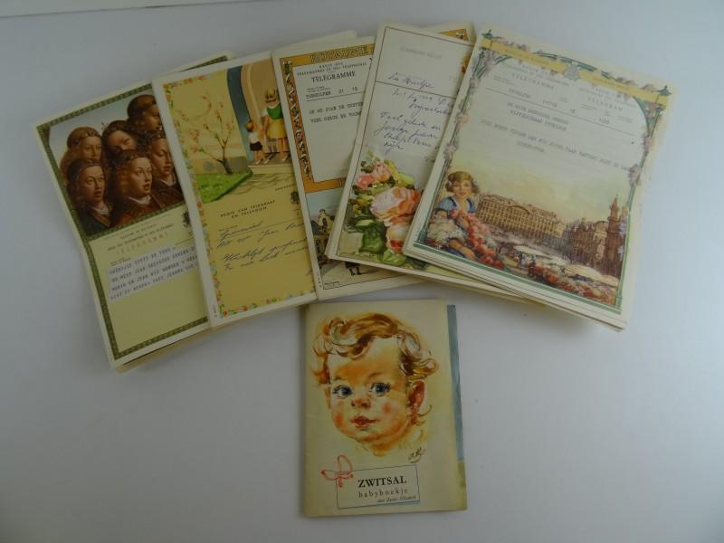 26 oude telegrammen + babyboekje
