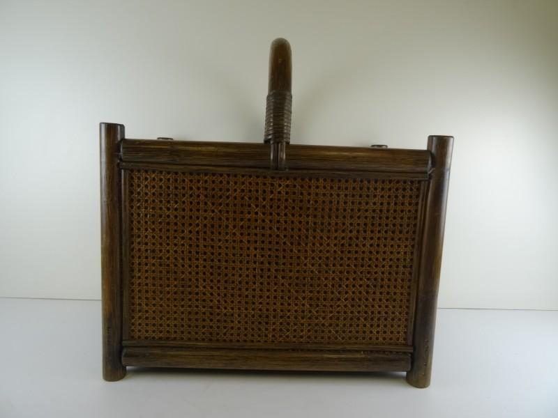 Vintage Lectuurmand rotan/hout