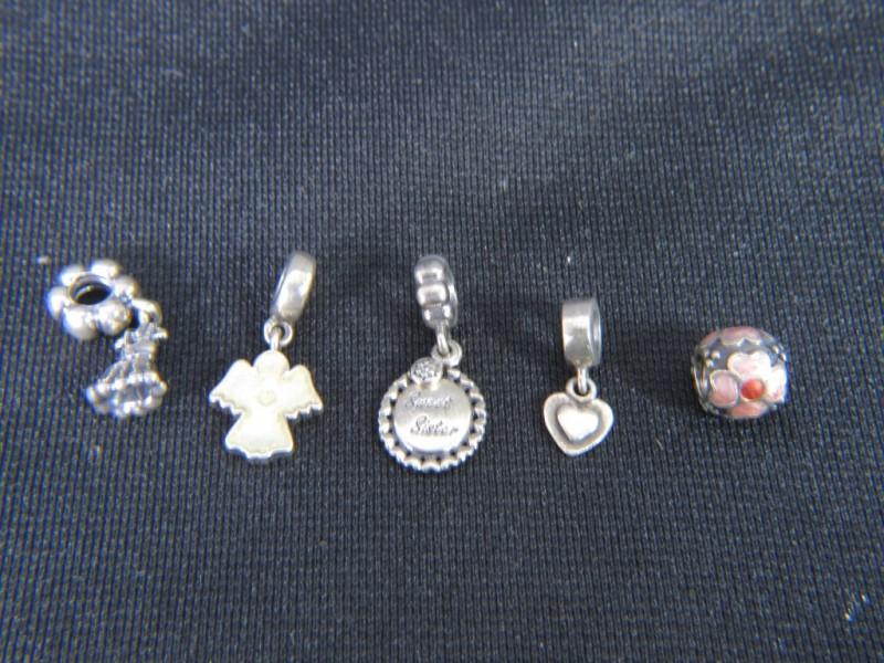 5 zilveren bedeltjes 925 voor Pandora armband