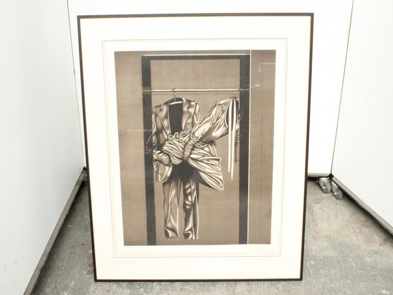Lithografie: Garderobe - Grijstinten