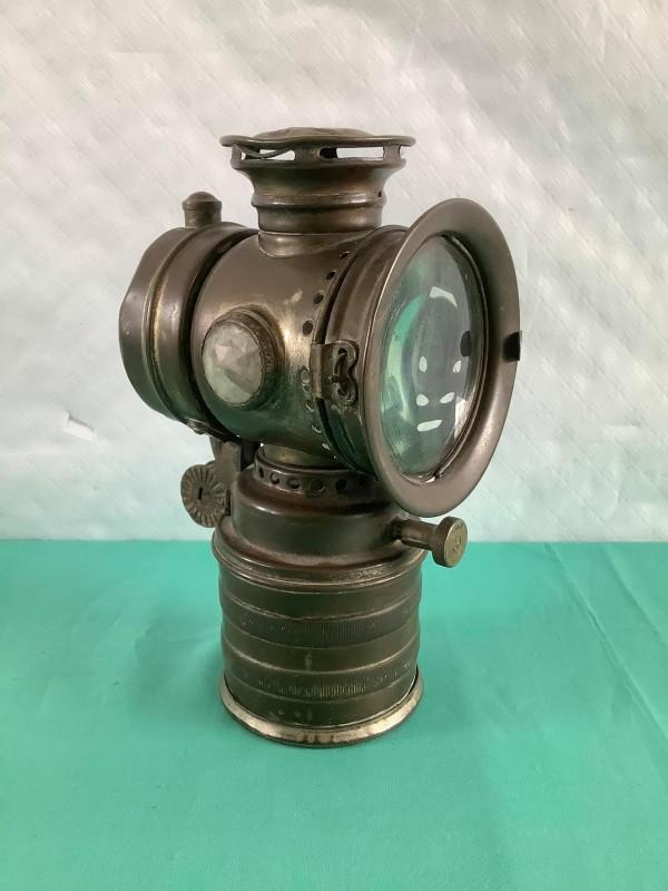 Antieke koperen fietslamp
