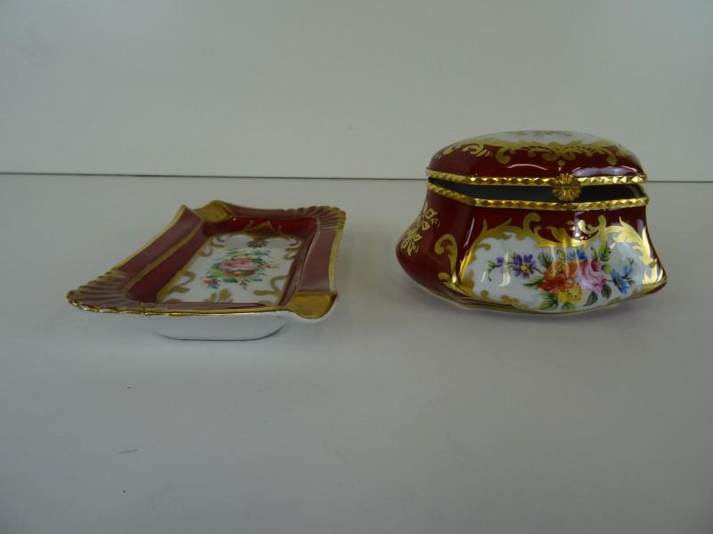 Vintage juwelenbox en asbakje in porselein