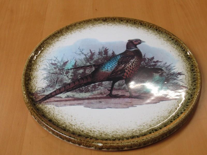 Vintage serveerschaal met fazanten, made in Italy