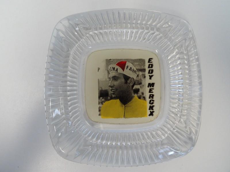 Vintage glazen asbak Eddy Merckx