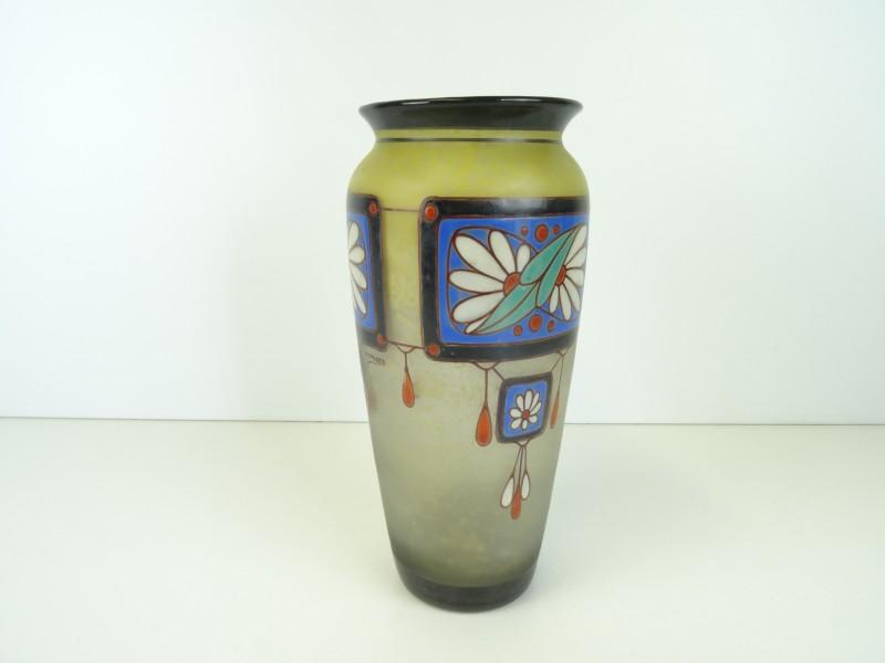 Art-deco glazen vaas Scailmont
