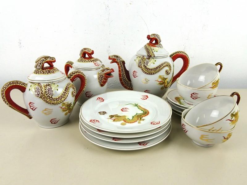 Porseleinen Aziatische thee-set