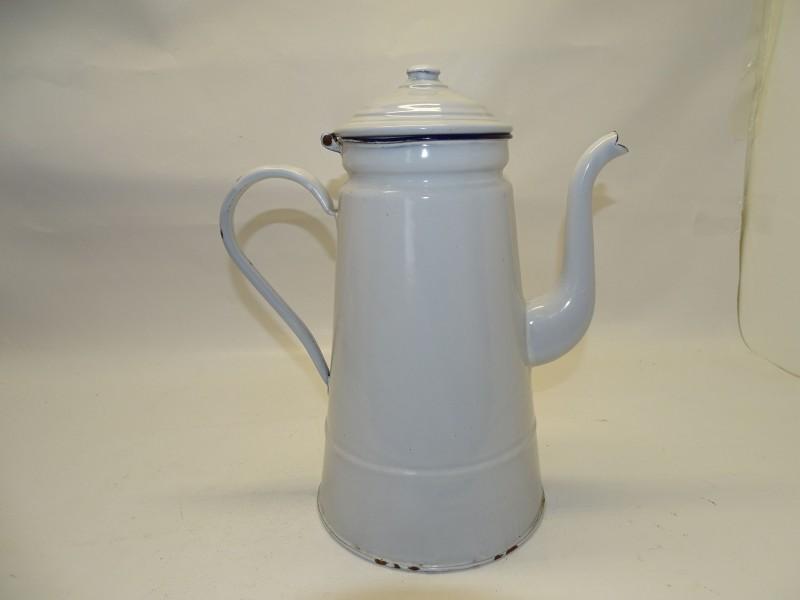Vintage Geëmailleerde Metalen Koffiepot