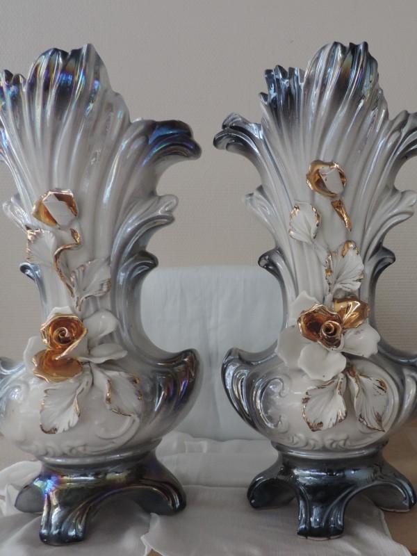 Set van 2 vintage Capodimonte vazen