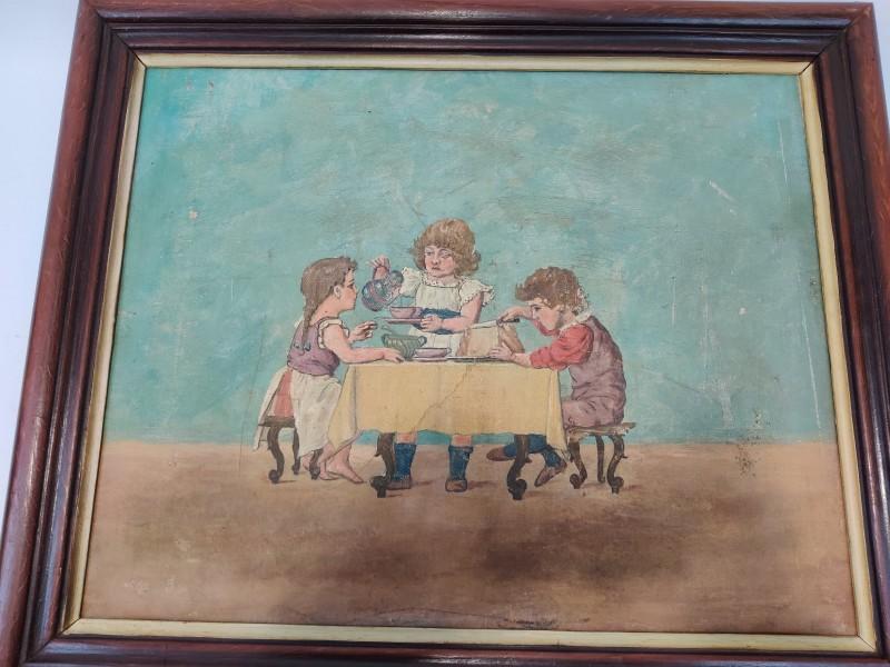 Schilderij Kindertafereel