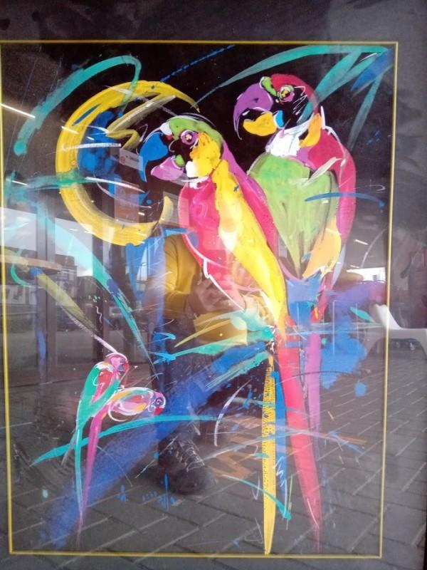 Schilderij : papegaaien