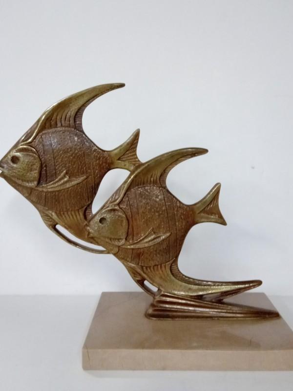 Bronzen Art deco vissen sculpture