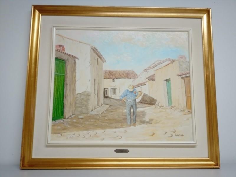 schilderij : oude man in steegje
