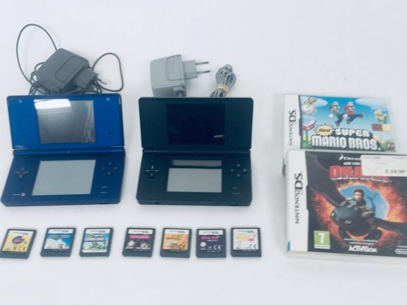 Nintendo DS/DS lite Met Adapters en 9 Games