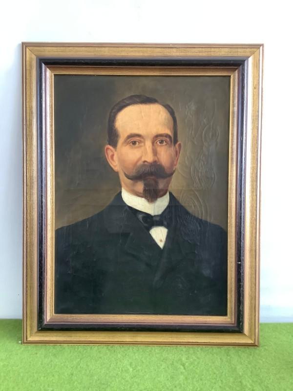 Antiek portretschilderij van een man met snor